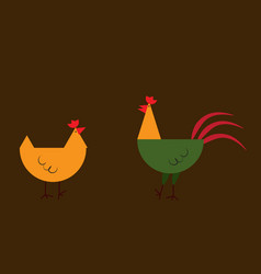 Chicken icon in linear flat style isolated vector