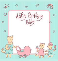 Children greeting card in pastel colors vector