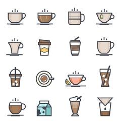 Coffee icon bold stroke with colo vector