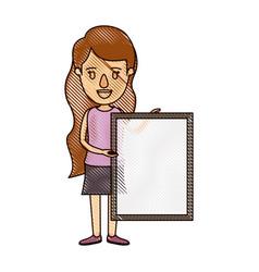 Color crayon stripe cartoon full body woman vector