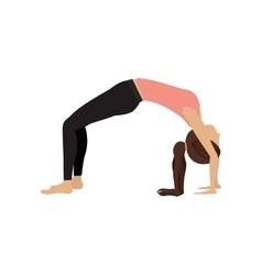 Colorful yoga woman upward bow pose vector