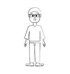 Contour old man with glasses shirt and pants vector