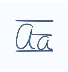 Cursive letter a sketch icon vector image