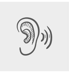 Ear sketch icon vector