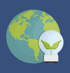 Earth planet and bulb light icon vector