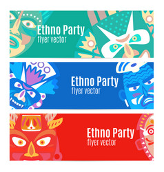 Ethno party flyers with masks vector