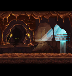 fantasy cave with a waterfall vector image