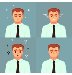 Funny Cartoon Character Office Worker Calm Sad vector image