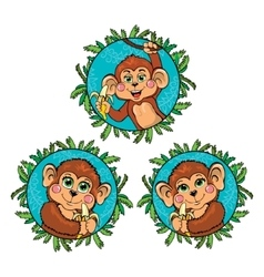Funny monkey with a banana in his hand set vector
