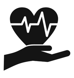 Hand holding heart with ecg line icon simple style vector