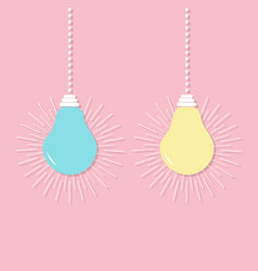 Hanging light bulb icon set switch on off lamp vector