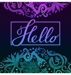 Hello border blue and purple dark vector