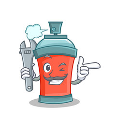 mechanic aerosol spray can character cartoon vector image vector image