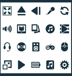 Media icons set includes icons such as song list vector