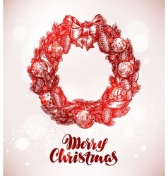 Merry christmas wreath and xmas decorations vector