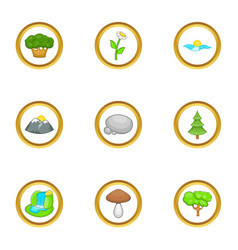 Nature icon set cartoon style vector
