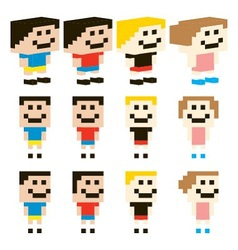 Pixel art kids character design vector