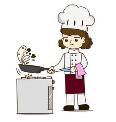 Pretty chef making delicious food vector