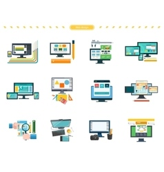 Set of web design concepts in flat style vector