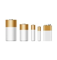 Set of White Golden Batteries Diffrent size vector image vector image