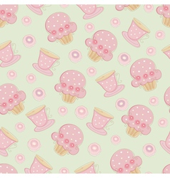 Vintage seamless pattern with cakes and cups vector image