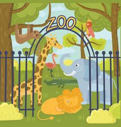 wild animals in zoo park giraffe elephant vector image