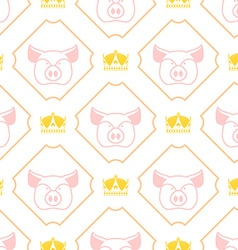 Royal pork seamless pattern pig and crown regal vector