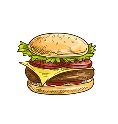 Cheeseburger fast food sketch icon vector image