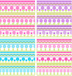 Set of four seamless floral backgrounds vector