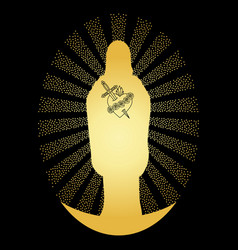 Gold virgin mary silhouette vector