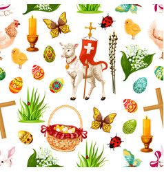 Easter seamless pattern paschal symbols vector