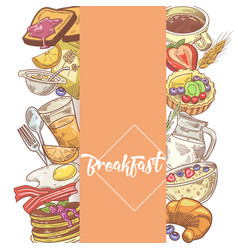 Healthy breakfast hand drawn design with bakery vector