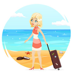 Sea beach background cute girl suitcase cartoon vector