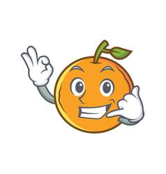 Orange fruit cartoon character call me vector