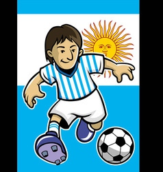 Argentina soccer player with flag background vector