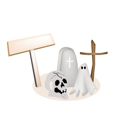 Halloween Items with Wooden Placard vector image