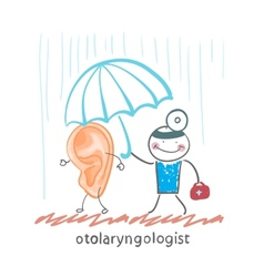 Otolaryngologist holding an umbrella over the vector