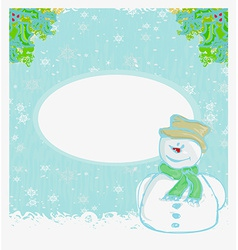 Happy snowman card vector