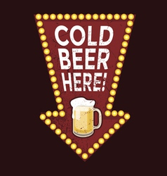 Vintage metal sign cold beer here vector