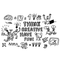 Think creative fun doodles people black and white vector