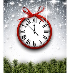 New year clock with starry background vector
