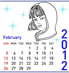 2012 year calendar in february vector