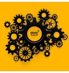 Abstract black gear wheels symbol on bright yellow vector
