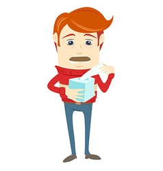 Frustrated hipster character holding a paper vector