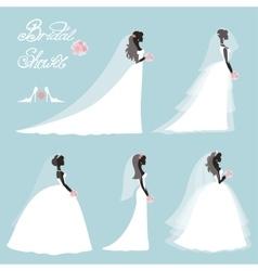 Bride in dresswedding bridal shower setflat vector