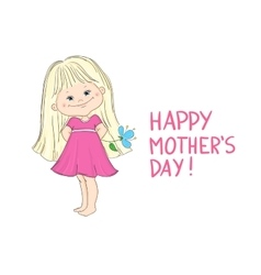 Happy mothers day card with a cute little girl vector