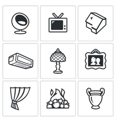Set of house and interior items icons vector