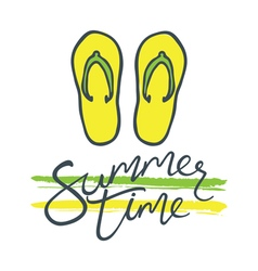 Summer time flip flops green yellow vector