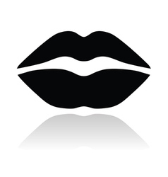 Lips black glossy icon vector