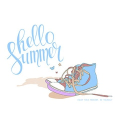 Lettering hello summer shoes vector